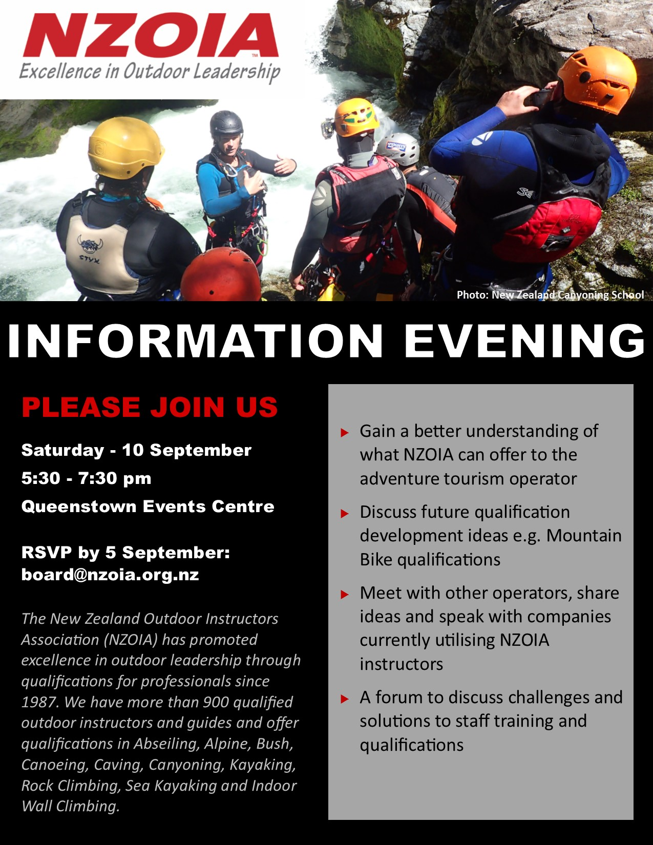 NZOIA Information Evening - Queenstown